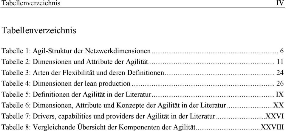 .. 24 Tabelle 4: Dimensionen der lean production... 26 Tabelle 5: Definitionen der Agilität in der Literatur.