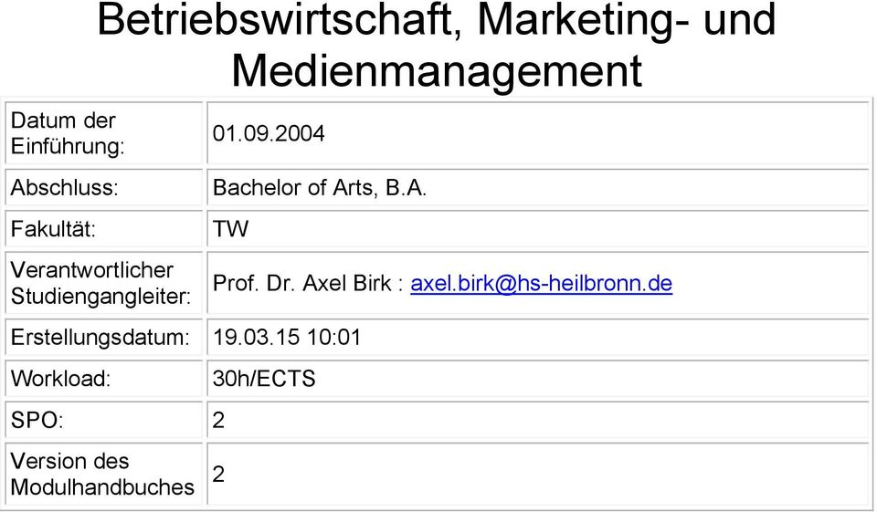 2004 Bachelor of Arts, B.A. TW Erstellungsdatum: 19.03.
