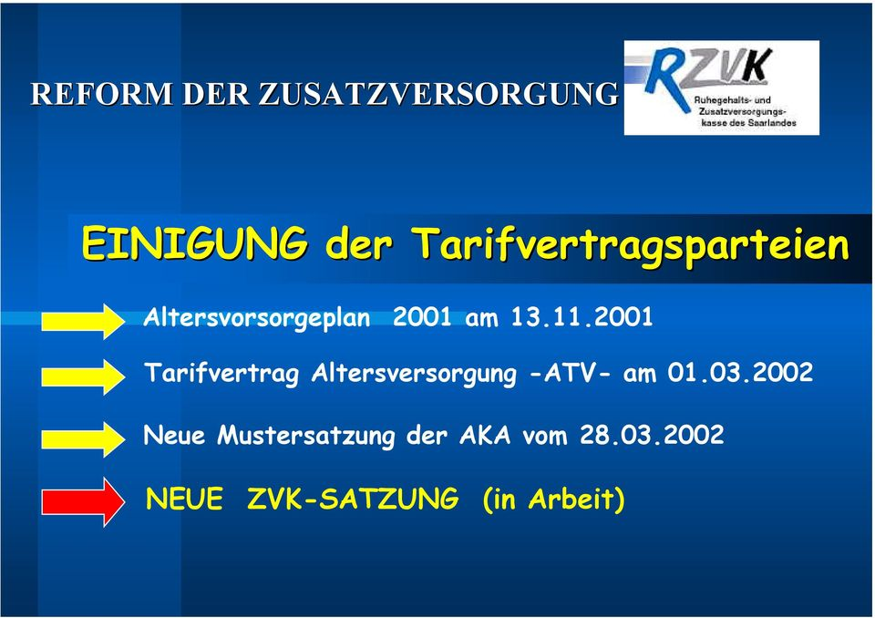 2001 Tarifvertrag Altersversorgung -ATV- am 01.03.