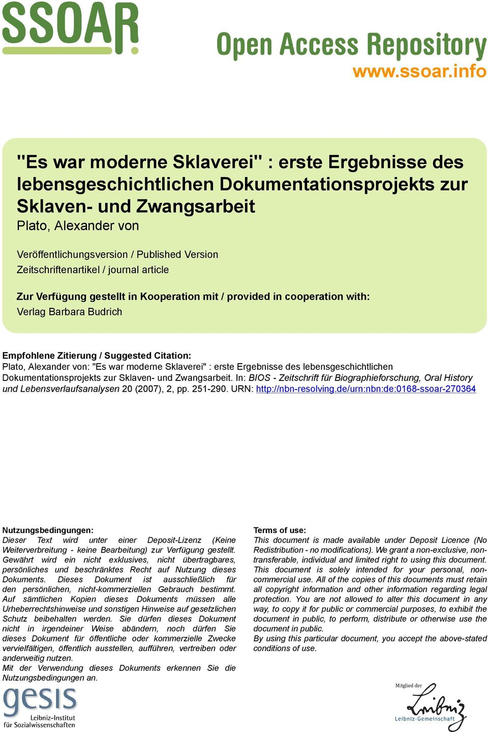 Zeitschriftenartikel / journal article Zur Verfügung gestellt in Kooperation mit / provided in cooperation with: Verlag Barbara Budrich Empfohlene Zitierung / Suggested Citation: Plato, Alexander