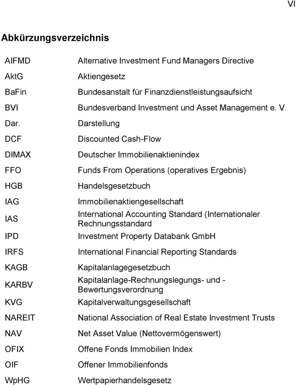DCF DIMAX FFO HGB IAG IAS IPD IRFS KAGB KARBV KVG NAREIT NAV OFIX OIF WpHG Darstellung Discounted Cash-Flow Deutscher Immobilienaktienindex Funds From Operations (operatives Ergebnis)