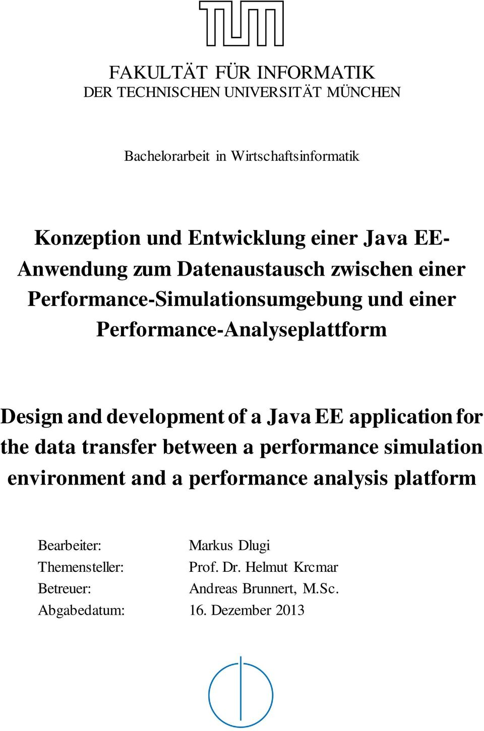 and development of a Java EE application for the data transfer between a performance simulation environment and a performance