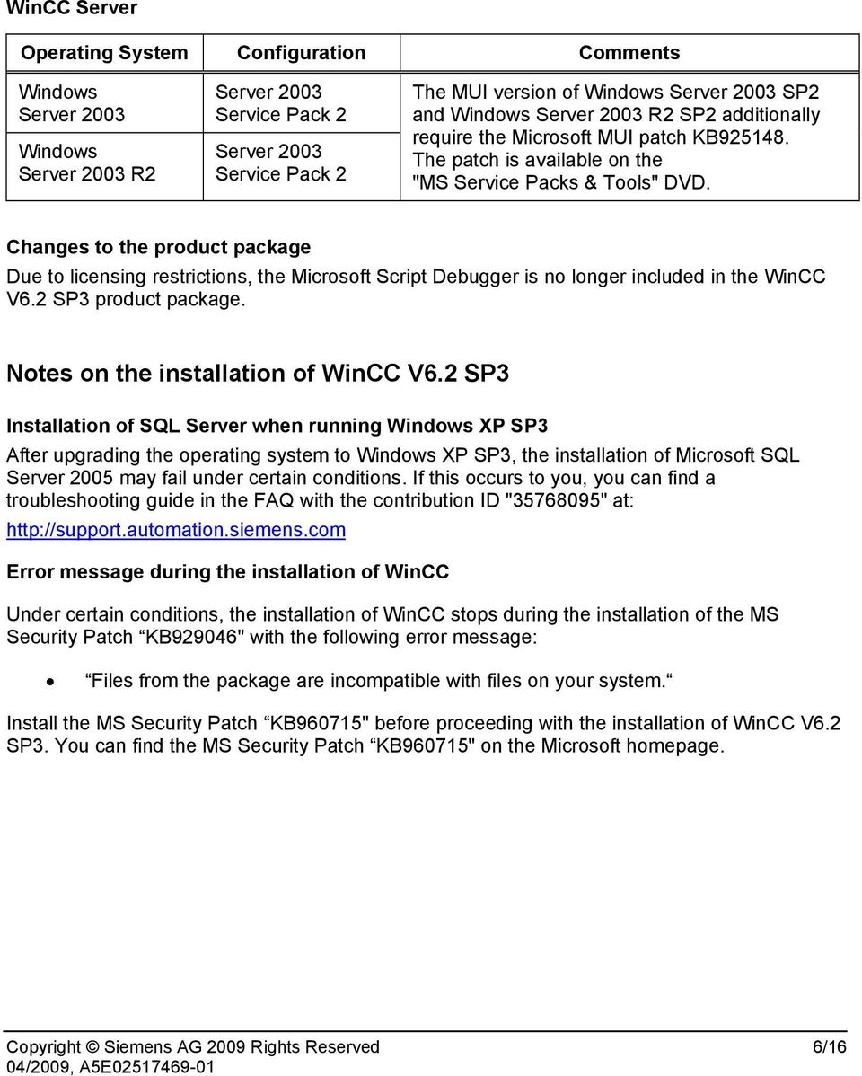 2 SP3 product package. Notes on the installation of WinCC V6.