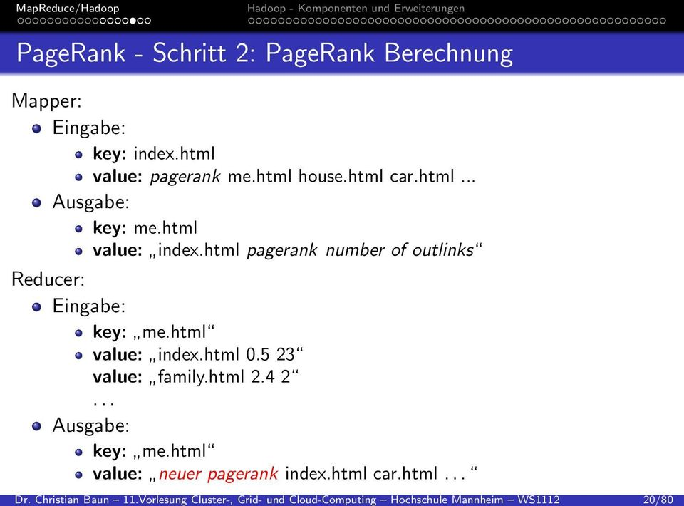 Berechnung Mapper: Eingabe: key: index.html value: pagerank me.html house.html car.html... Ausgabe: key: me.