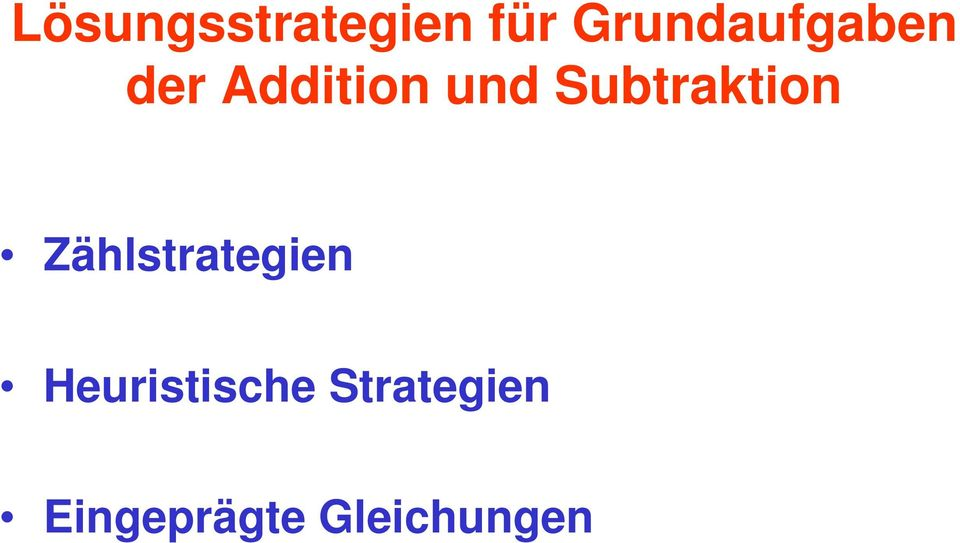 Subtraktion Zählstrategien