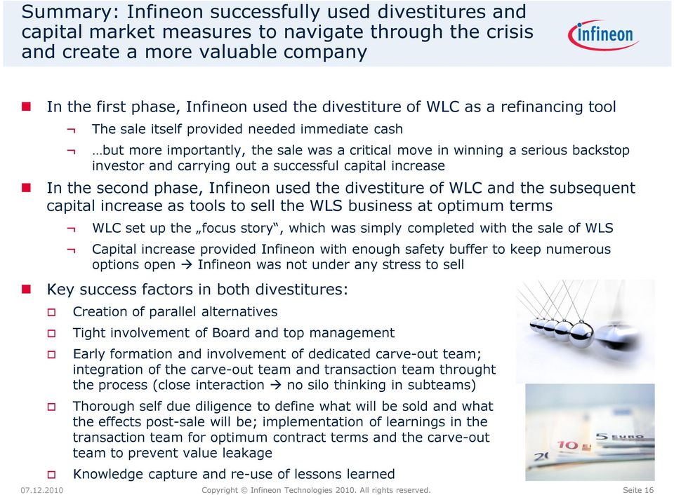 increase In the second phase, Infineon used the divestiture of WLC and the subsequent capital increase as tools to sell the WLS business at optimum terms WLC set up the focus story, which was simply