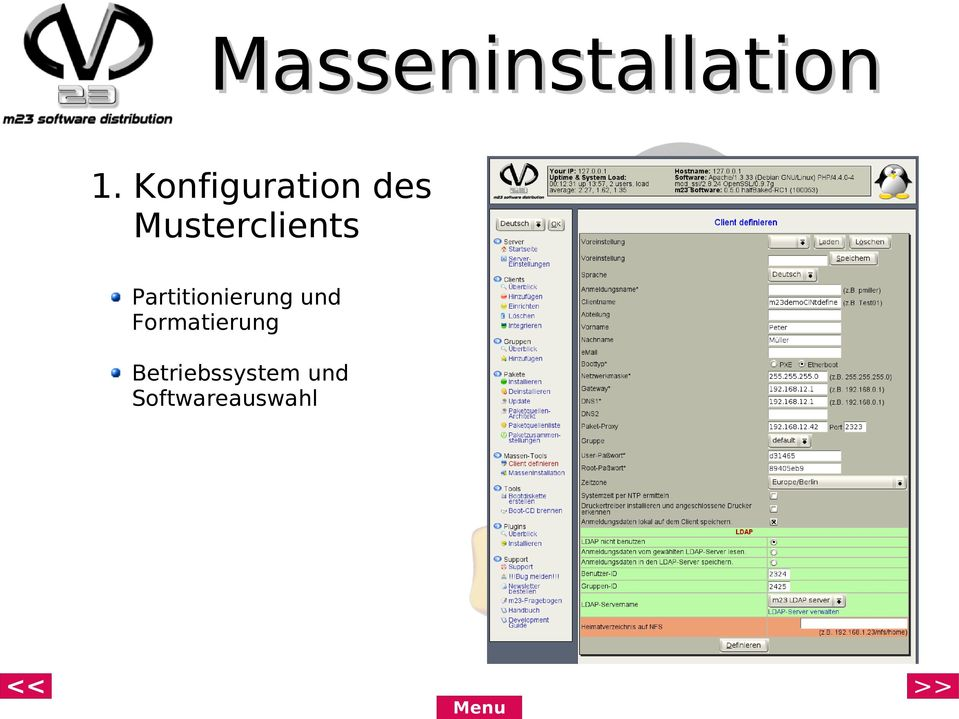 Musterclients Partitionierung