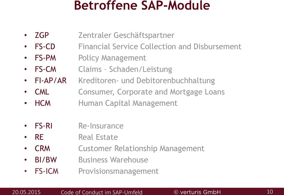 Debitorenbuchhaltung CML Consumer, Corporate and Mortgage Loans HCM Human Capital Management FS-RI