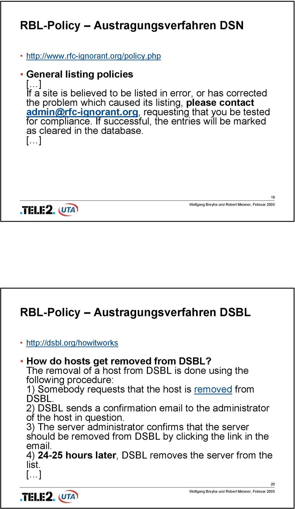 org, requesting that you be tested for compliance. If successful, the entries will be marked as cleared in the database. [ ] 19 RBL-Policy Austragungsverfahren DSBL http://dsbl.
