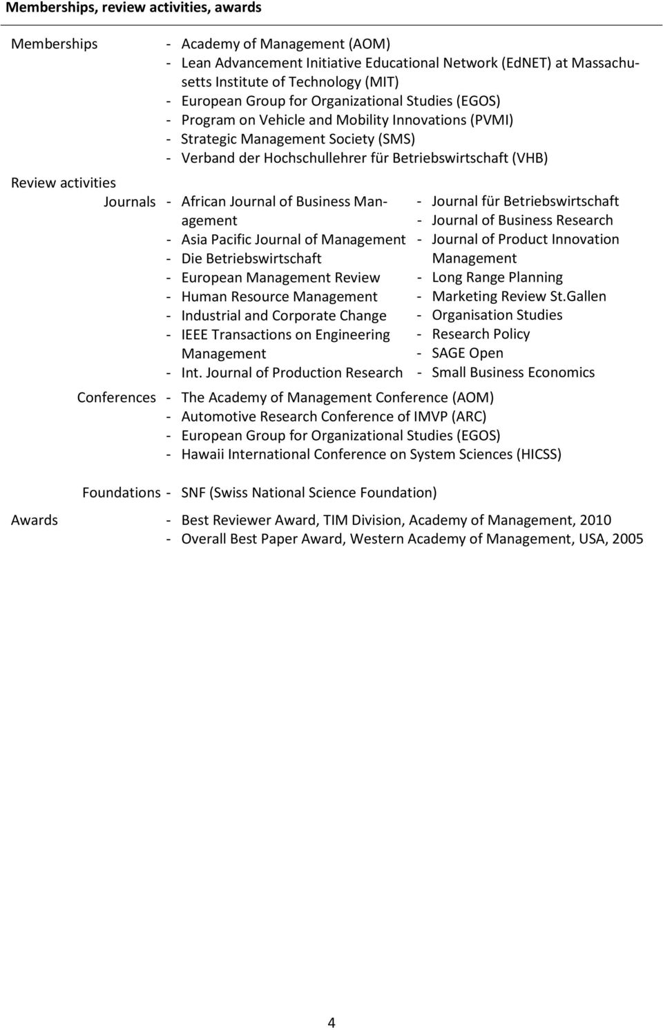 activities Journals - African Journal of Business Management - Asia Pacific Journal of Management - Die Betriebswirtschaft - European Management Review - Human Resource Management - Industrial and