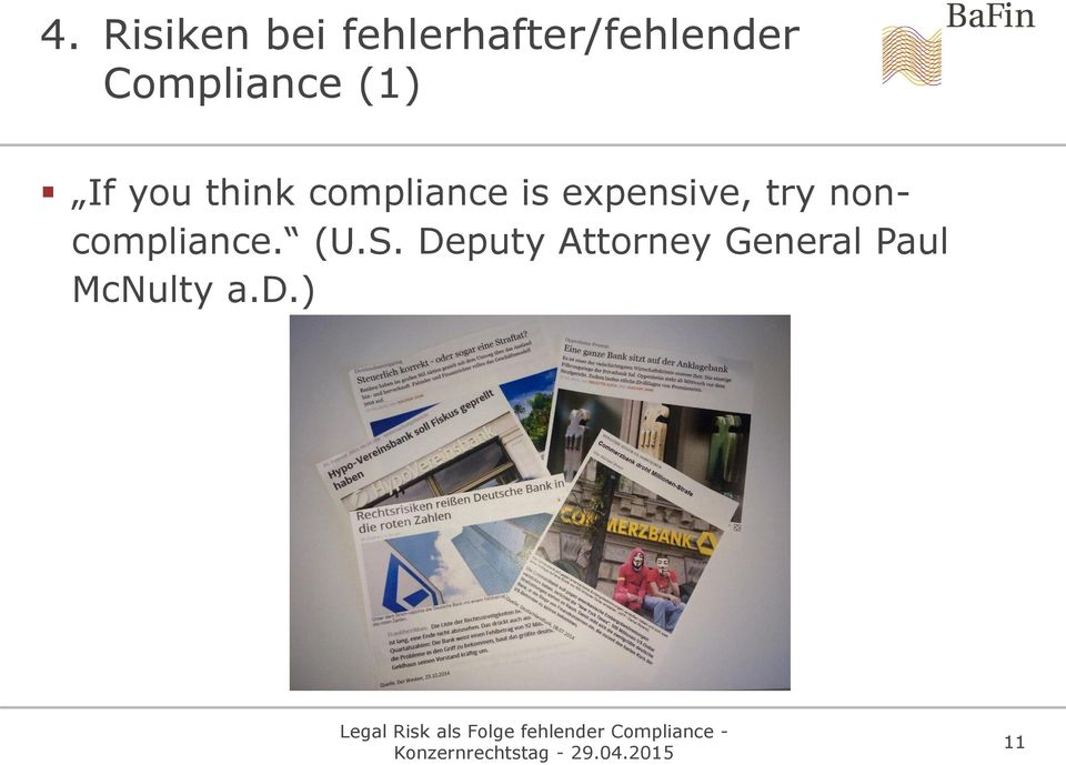 is expensive, try noncompliance. (U.S.