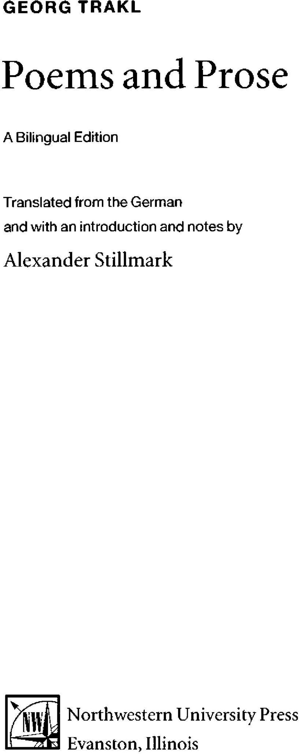 introduction and notes by Alexander Stillmark