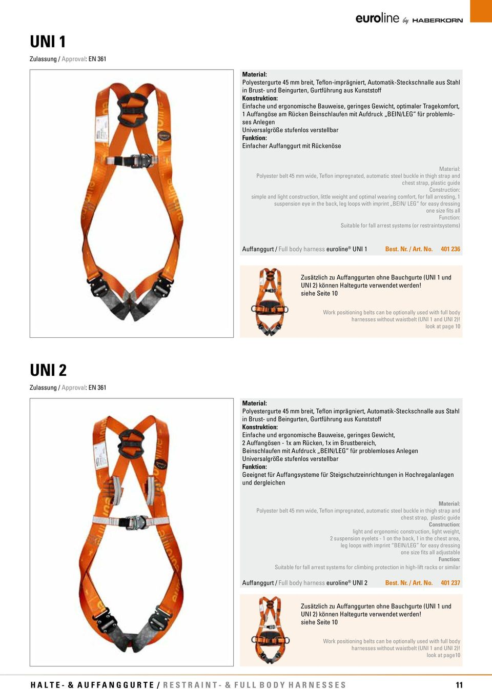 Einfacher Auffanggurt mit Rückenöse Polyester belt 45 mm wide, Teflon impregnated, automatic steel buckle in thigh strap and chest strap, plastic guide Construction: simple and light construction,
