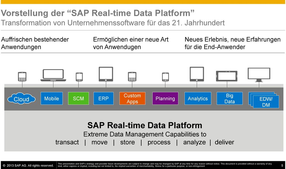 Data EDW/ DM SAP Real-time Data Platform Extreme Data Management Capabilities to transact move store process analyze deliver This presentation and SAP s strategy and possible future developments are