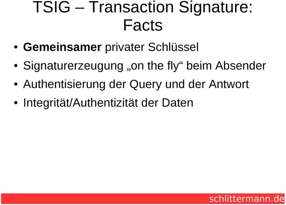 fly beim Absender Authentisierung der Query