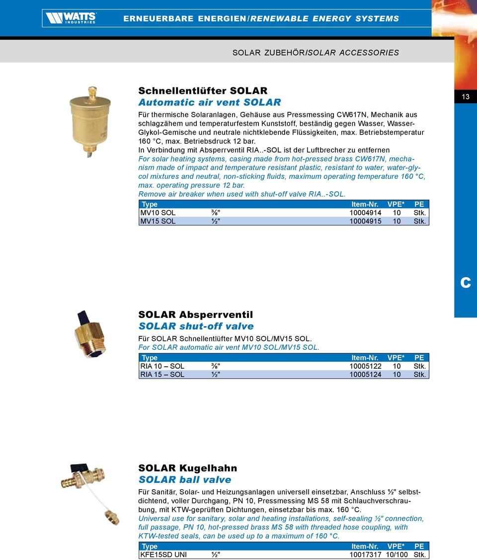 .-SOL ist der Luftbrecher zu entfernen For solar heating systems, casing made from hot-pressed brass W617N, mechanism made of impact and temperature resistant plastic, resistant to water,
