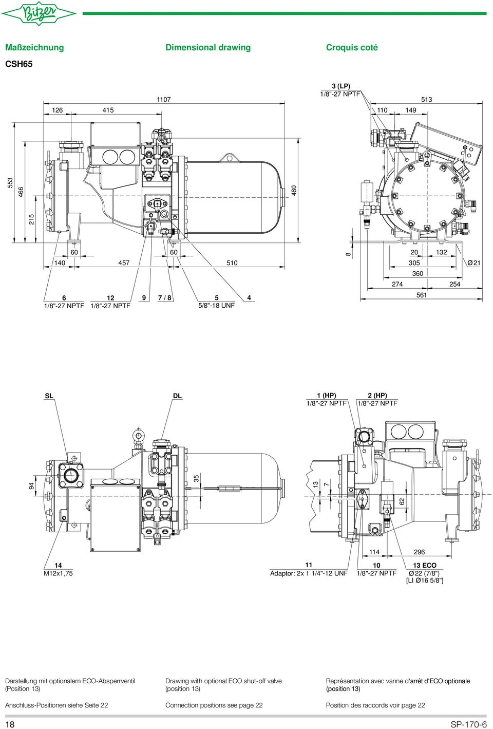 "[LI 6 5/8""] Darstellung mit optionalem ECO-Absperrventil (Position 3) Drawing with optional ECO shut-off valve (position 3) Représentation avec"