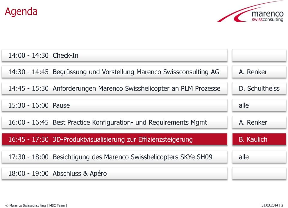 Schultheiss 15:30-16:00 Pause 16:00-16:45 Best Practice Konfiguration- und Requirements Mgmt alle A.