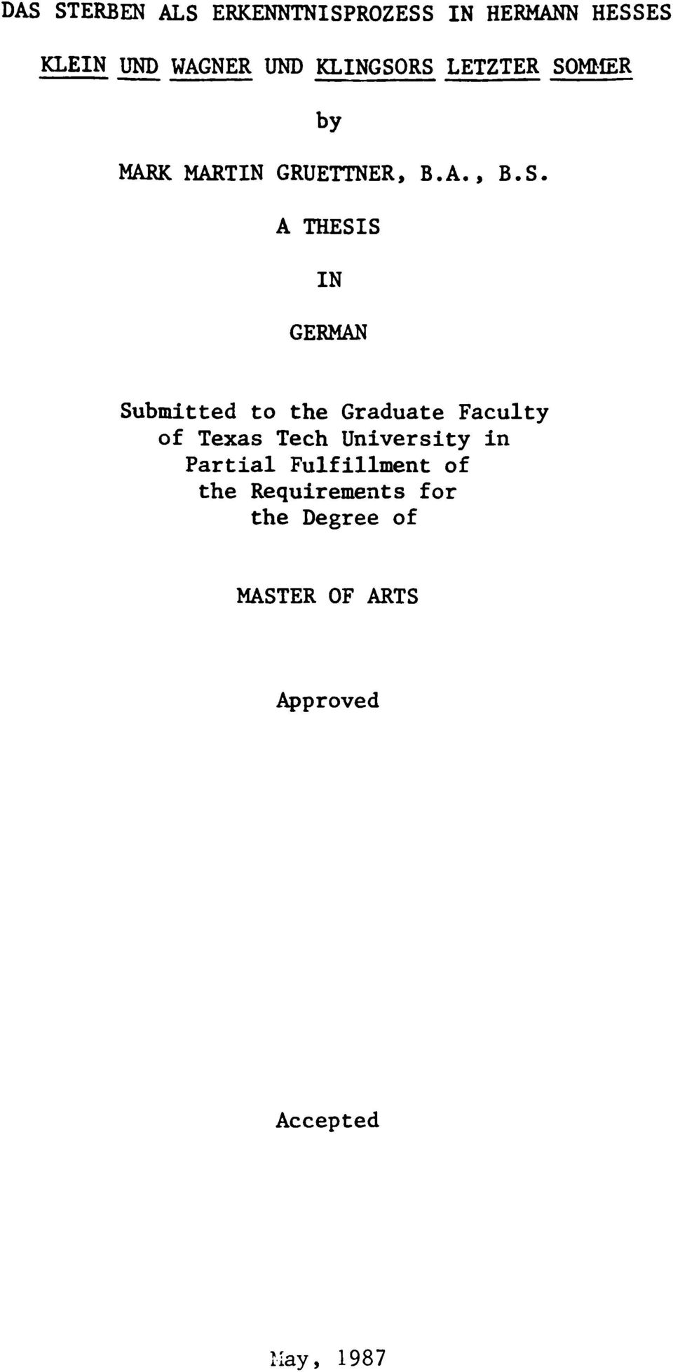 RS LETZTER SOM^ER by MARK MARTIN GRUETTNER, B.A., B.S. A THESIS IN GERMAN