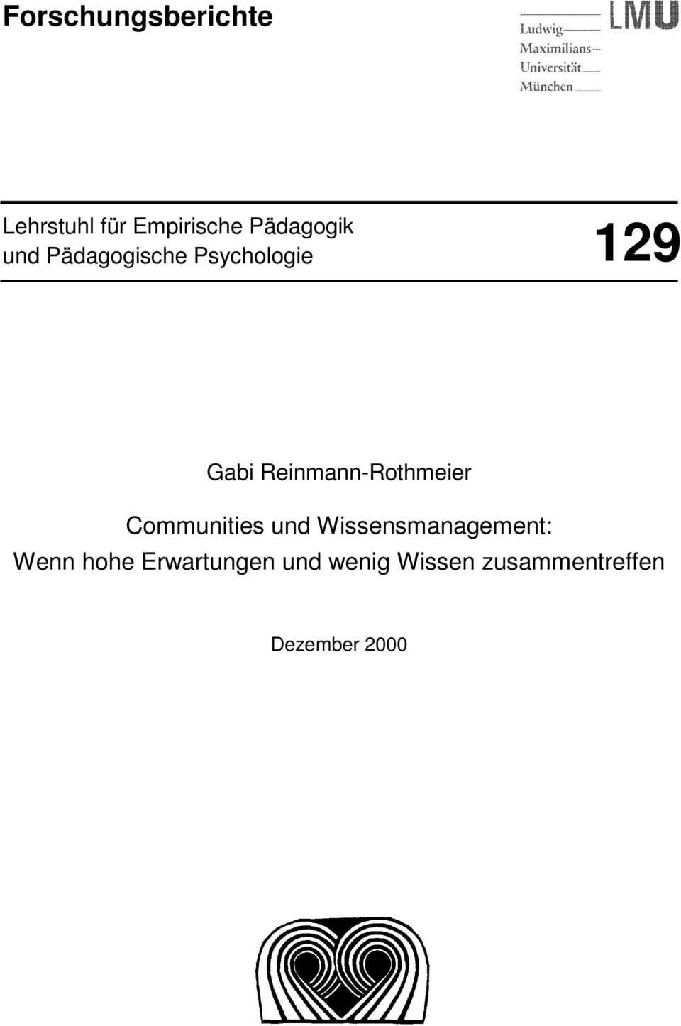 Reinmann-Rothmeier Communities und Wissensmanagement: