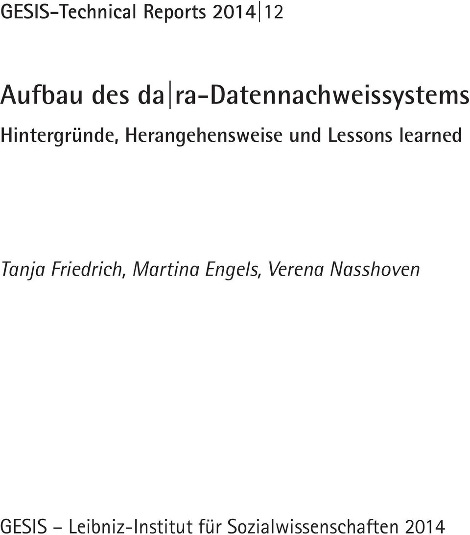 und Lessons learned Tanja Friedrich, Martina Engels,