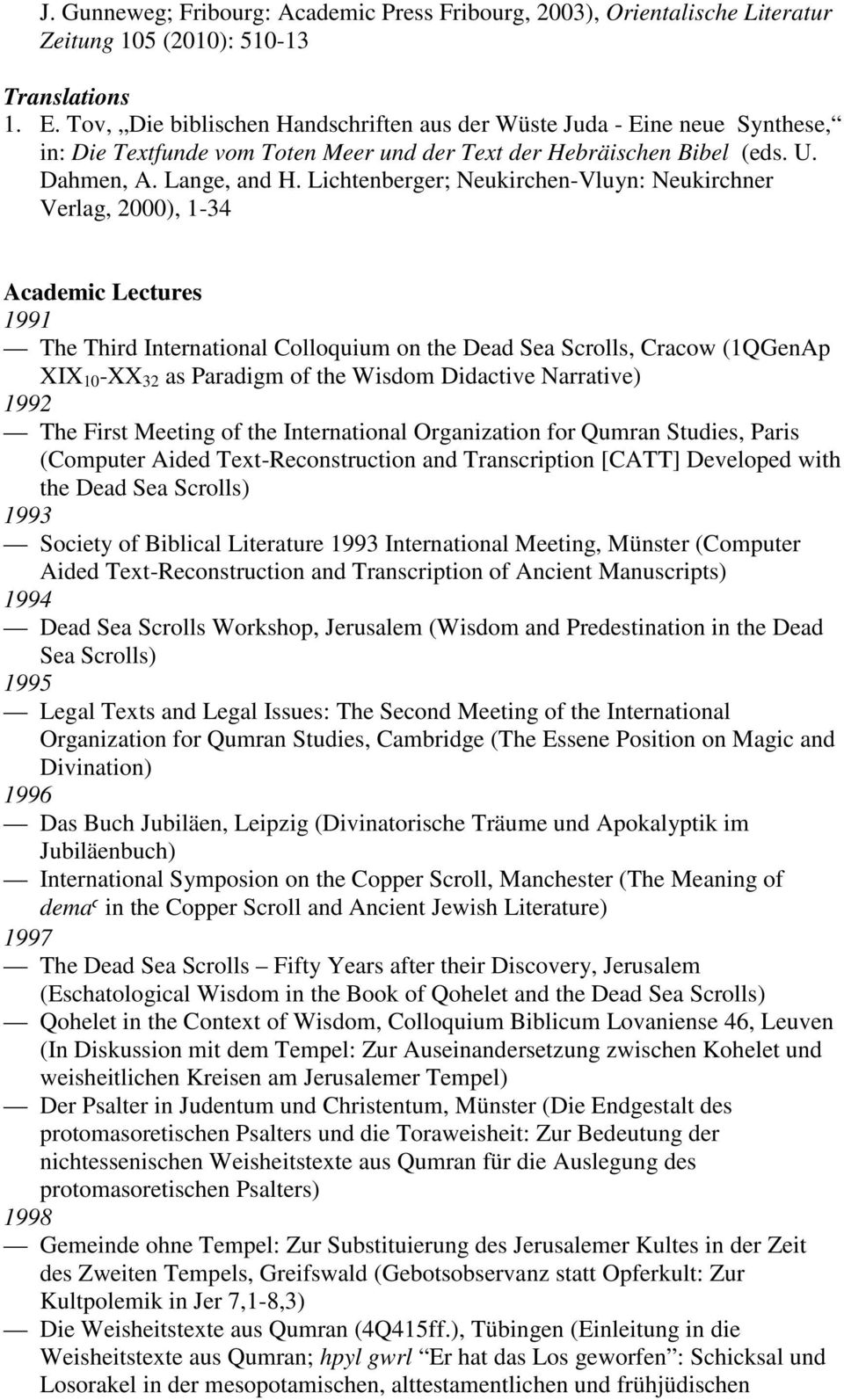 Lichtenberger; Neukirchen-Vluyn: Neukirchner Verlag, 2000), 1-34 Academic Lectures 1991 The Third International Colloquium on the Dead Sea Scrolls, Cracow (1QGenAp XIX 10 -XX 32 as Paradigm of the