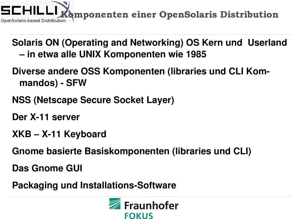 CLI Kommandos) SFW NSS (Netscape Secure Socket Layer) Der X 11 server XKB X 11 Keyboard Gnome