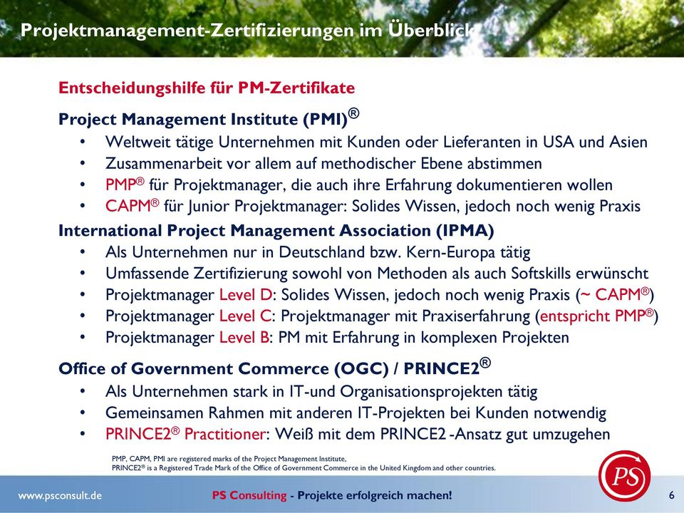 International Project Management Association (IPMA) Als Unternehmen nur in Deutschland bzw.