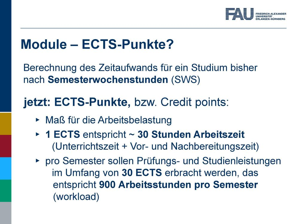 ECTS-Punkte, bzw.