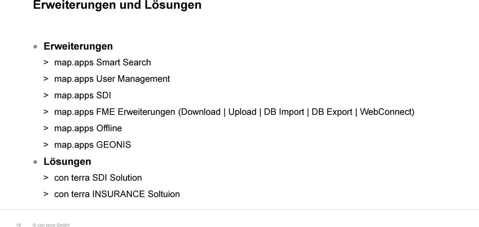 apps FME Erweiterungen (Download Upload DB Import DB Export WebConnect) >