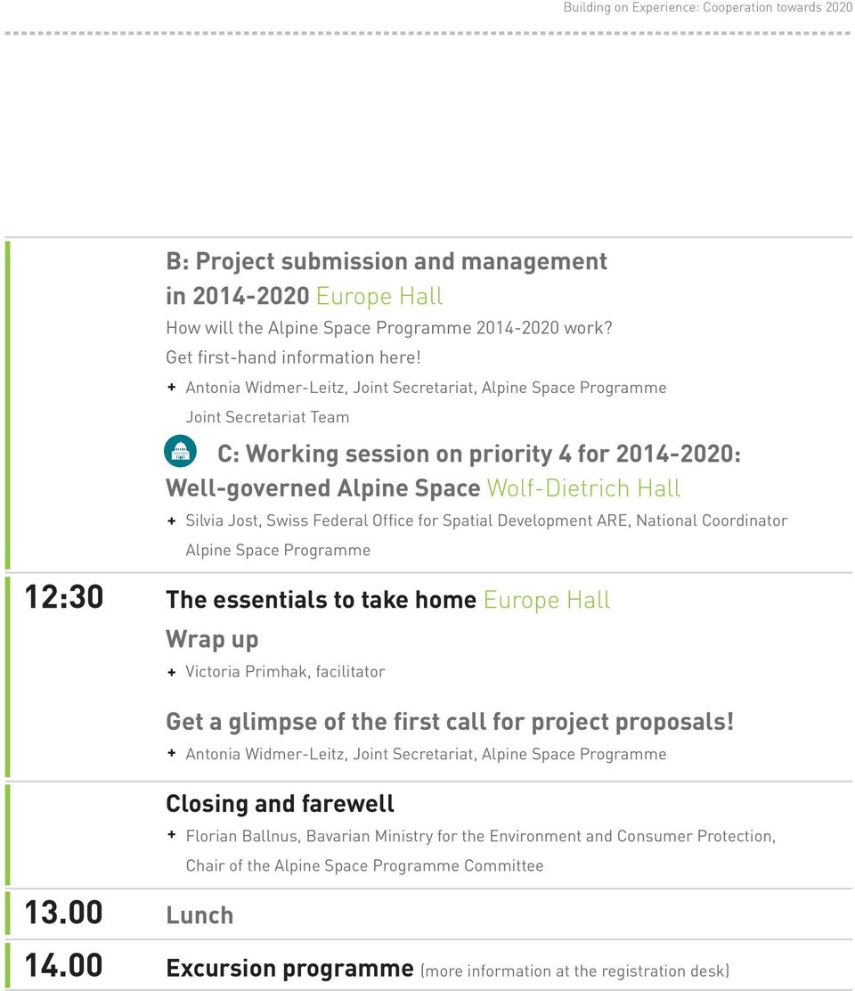 Federal Office for Spatial Development ARE, National Coordinator Alpine Space Programme 12:30 The essentials to take home Europe Hall Wrap up 13.