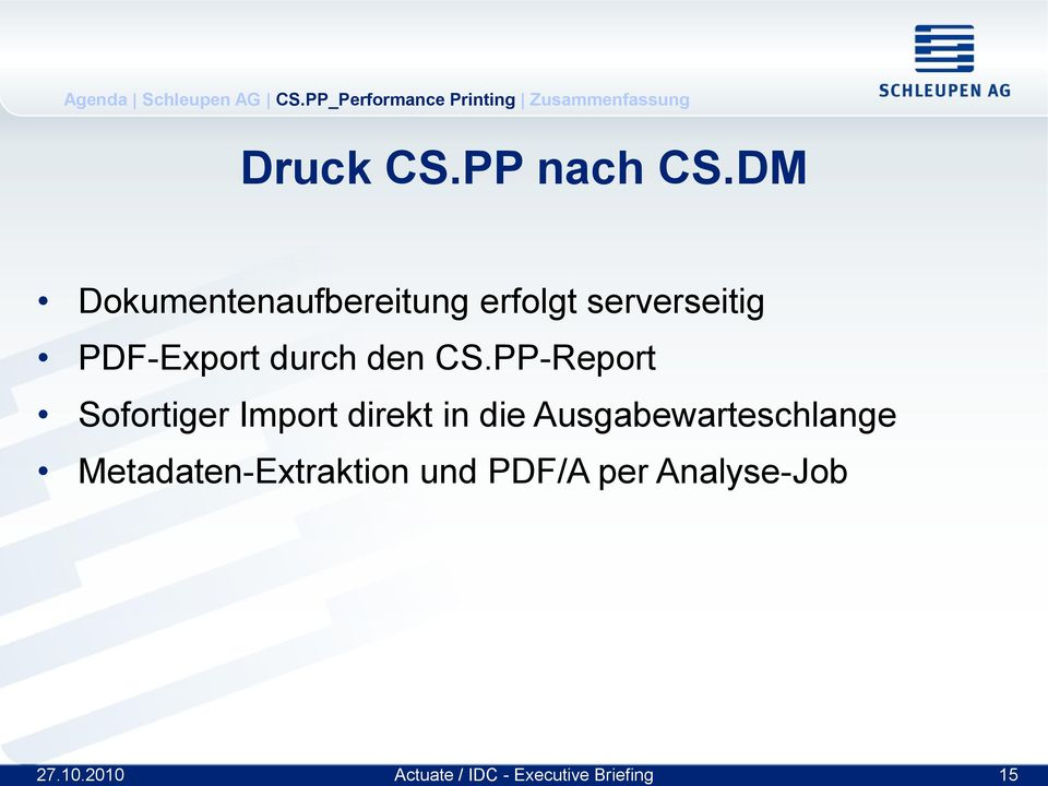 PDF-Export durch den CS.