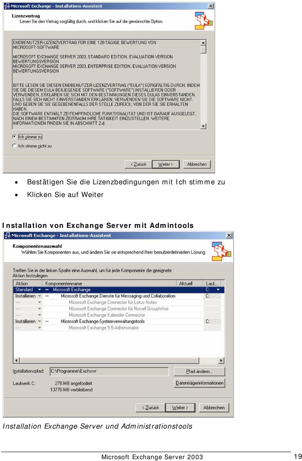 Server mit Admintools Installation Exchange Server