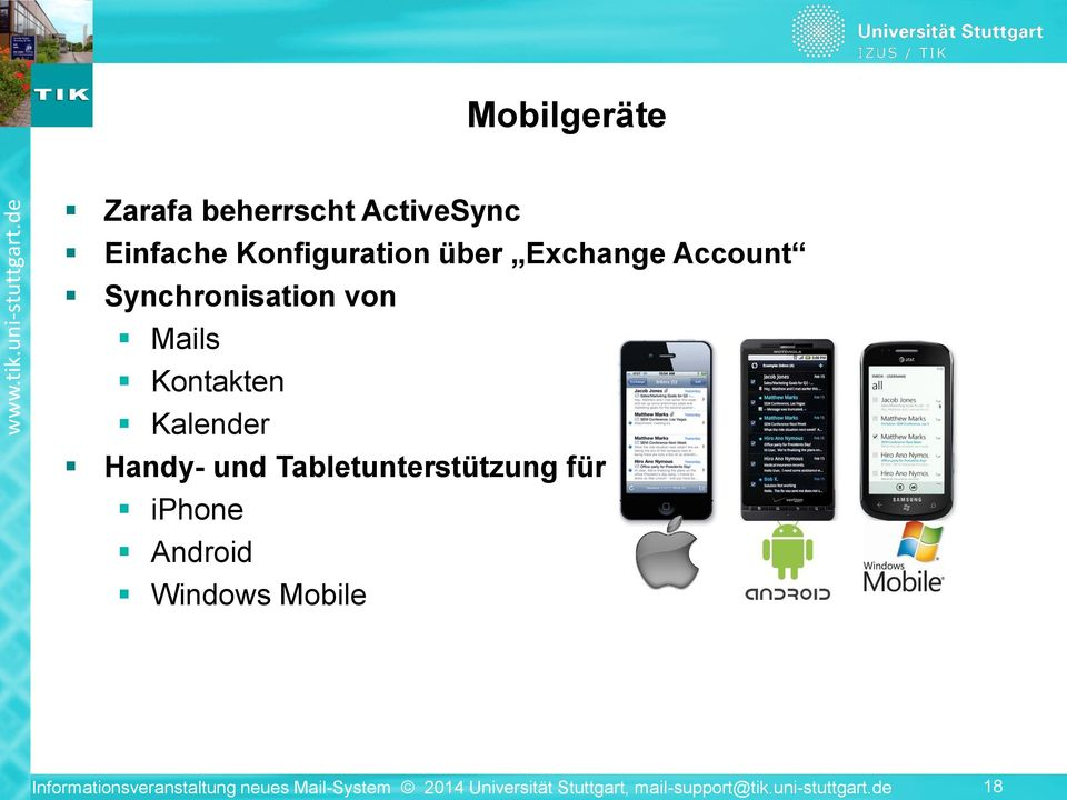Tabletunterstützung für iphone Android Windows Mobile