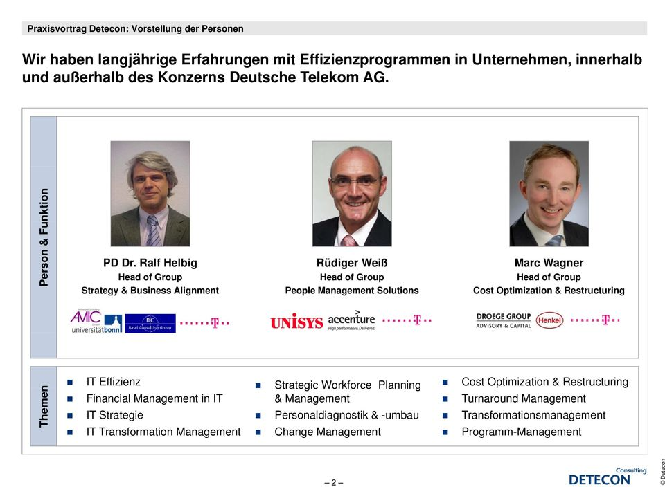 Ralf Helbig Head of Group Strategy & Business Alignment Rüdiger Weiß Head of Group People Management Solutions Marc Wagner Head of Group Cost Optimization &