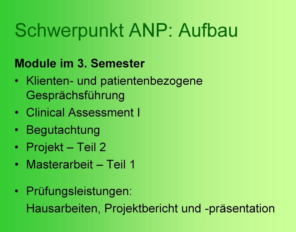 Clinical Assessment I Begutachtung Projekt Teil 2