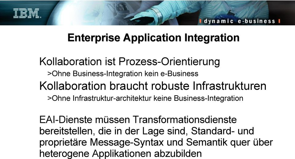 Infrastruktur-architektur keine Business-Integration EAI-Dienste müssen Transformationsdienste