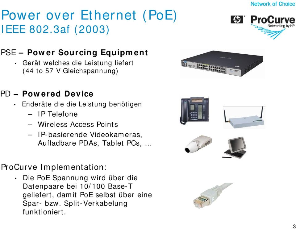 Powered Device Enderäte die die Leistung benötigen IP Telefone Wireless Access Points IP-basierende