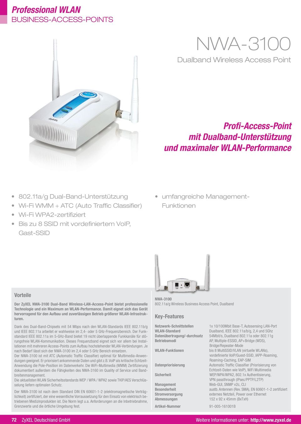 Wireless-LAN-Access-Point bietet professionelle Technologie und ein Maximum an WLAN-Performance.