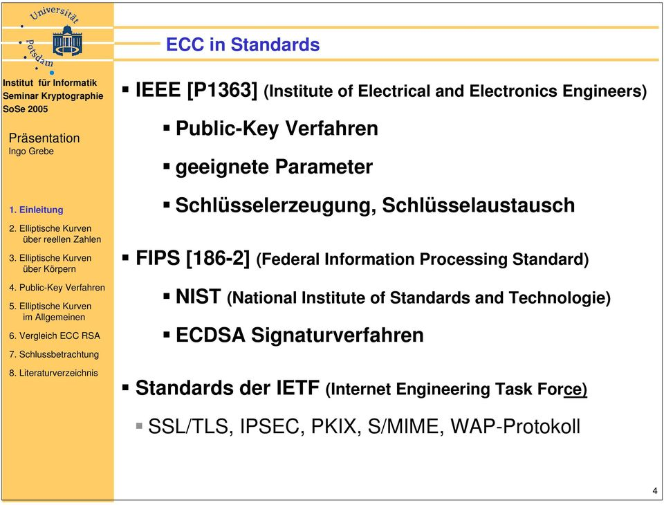 Information Processing Standard) NIST (National Institute of Standards and Technologie) ECDSA
