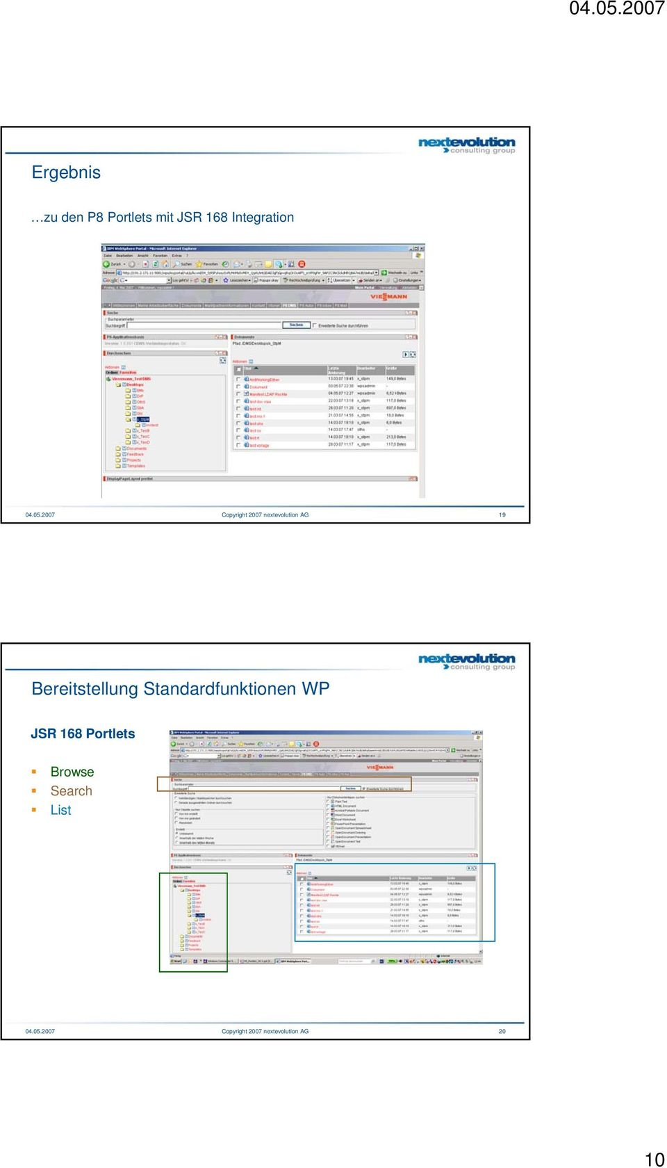 Bereitstellung Standardfunktionen WP JSR 168 Portlets