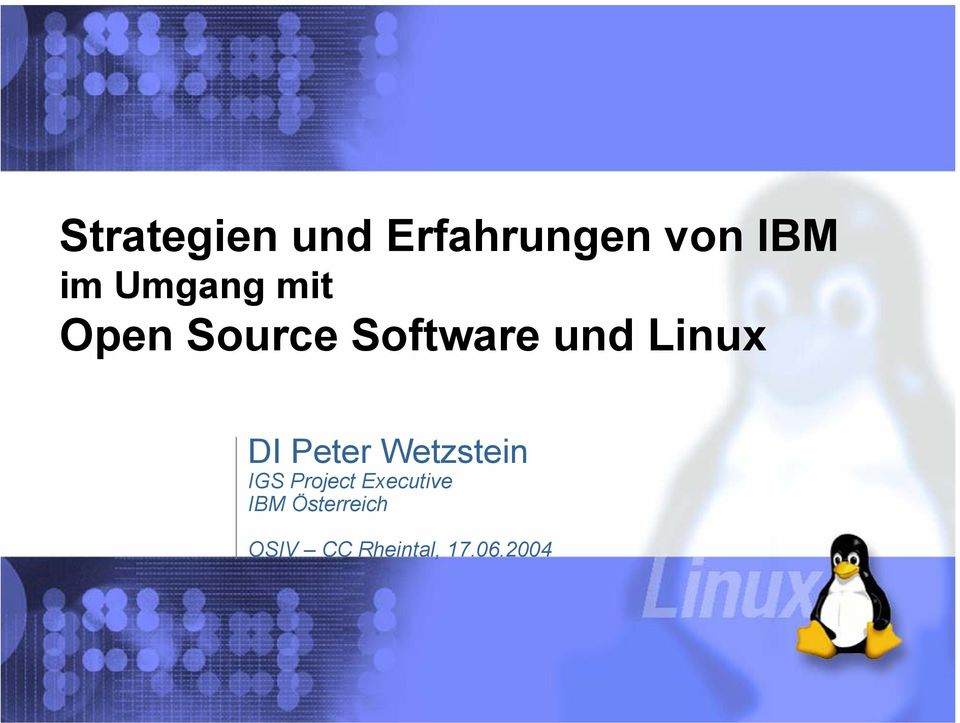 Linux DI Peter Wetzstein IGS Project