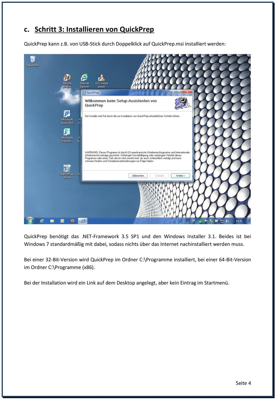 und den Windows Installer 3.1.