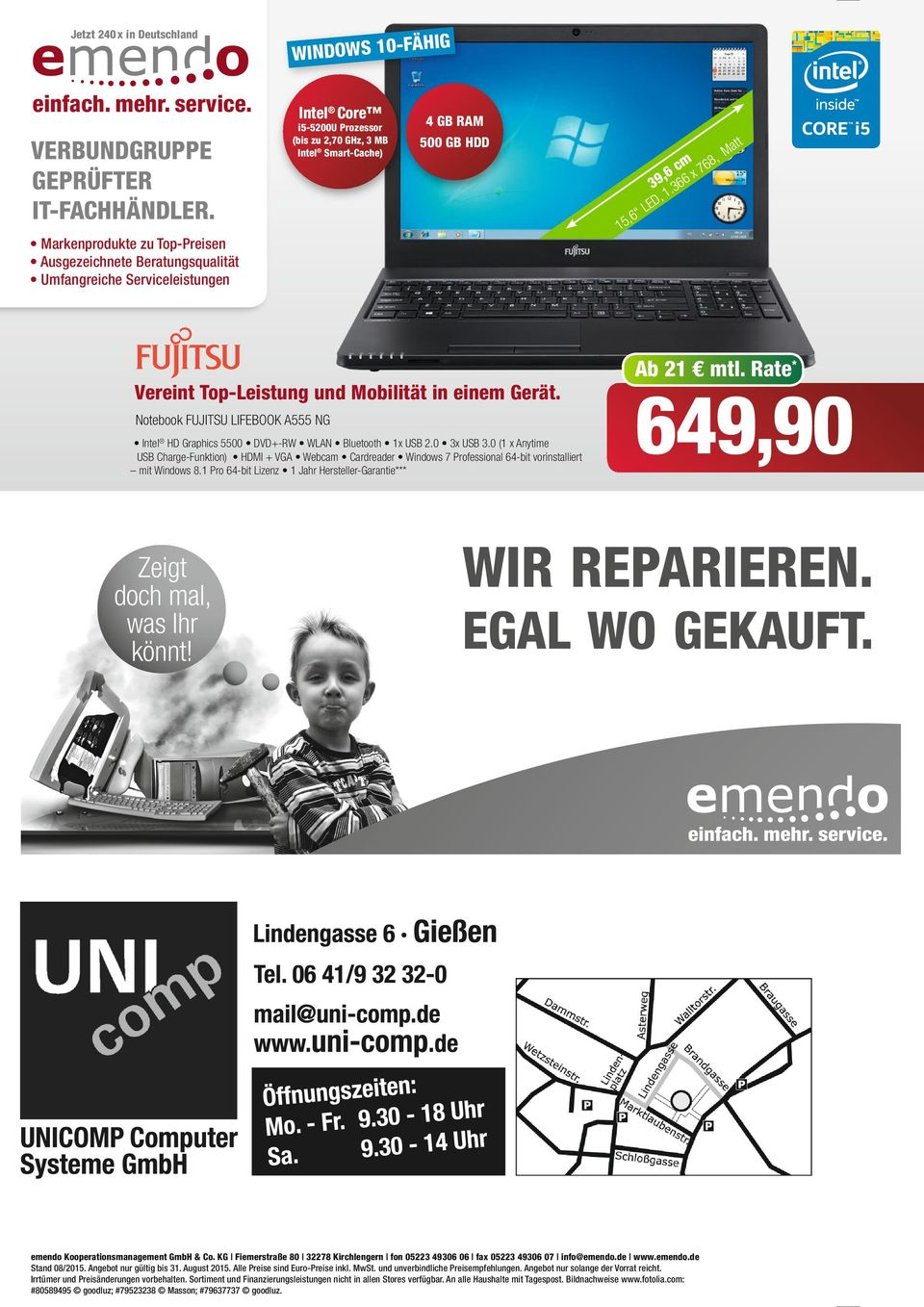 Notebook FUJITSU LIFEBOOK A555 NG Inte HD Graphics 5500 DVD+-RW WLAN Buetooth x USB 2.0 3x USB 3.