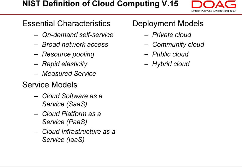Rapid elasticity Measured Service Service Models Cloud Software as a Service (SaaS) Cloud