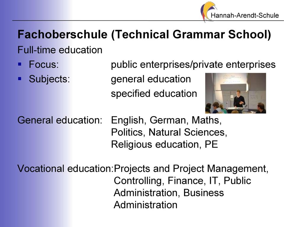 education: English, German, Maths, Politics, Natural Sciences, Religious education, PE