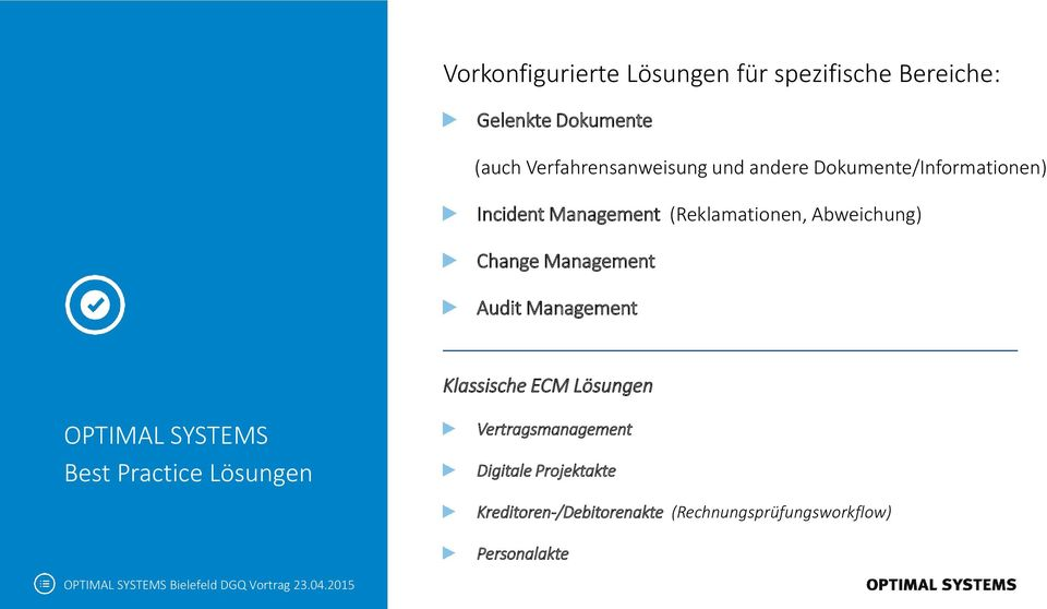 Management Audit Management Klassische ECM Lösungen OPTIMAL SYSTEMS Best Practice Lösungen