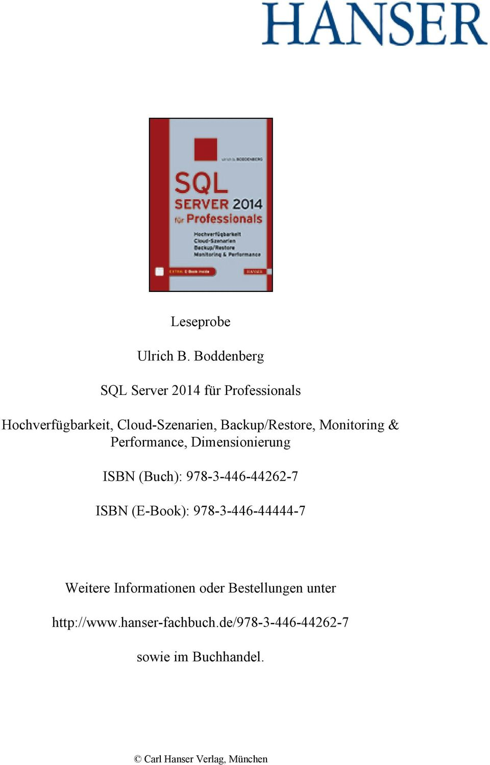 Backup/Restore, Monitoring & Performance, Dimensionierung ISBN (Buch): 978-3-446-44262-7