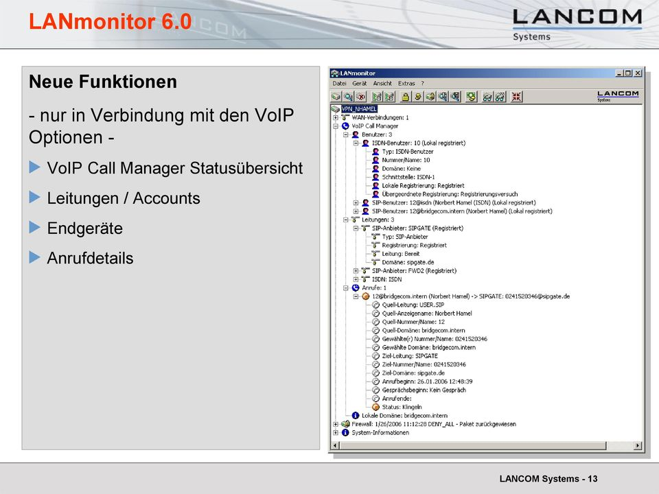 den VoIP Optionen - VoIP Call Manager