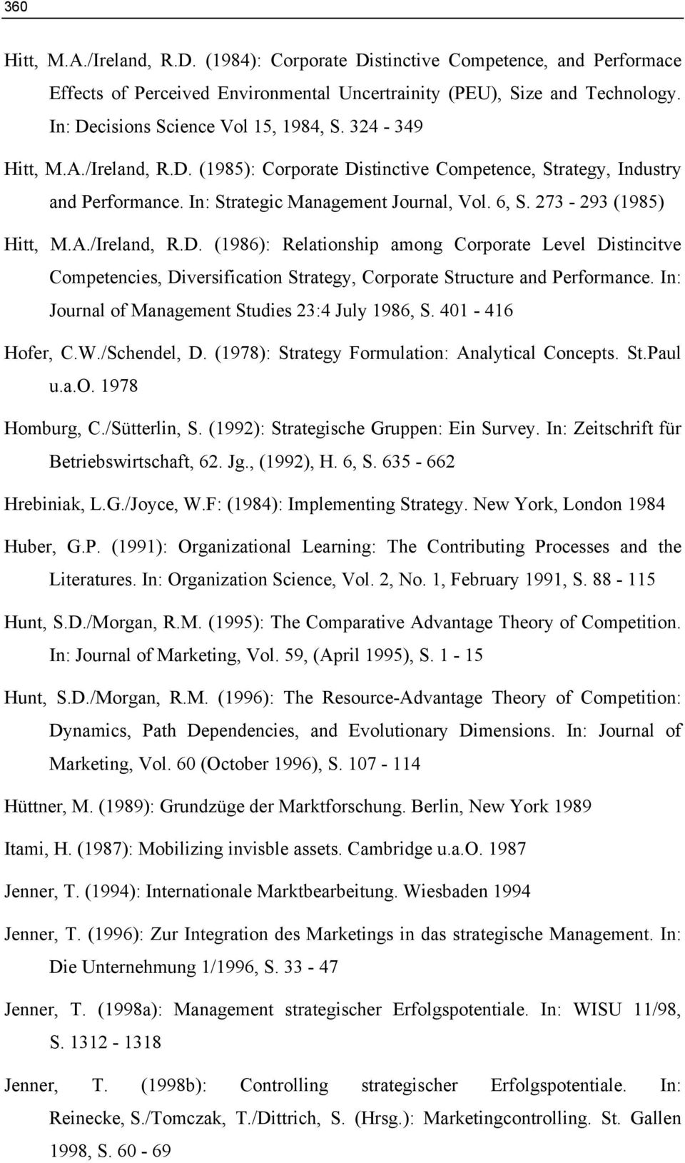 273-293 (1985) Hitt, M.A./Ireland, R.D. (1986): Relationship among Corporate Level Distincitve Competencies, Diversification Strategy, Corporate Structure and Performance.